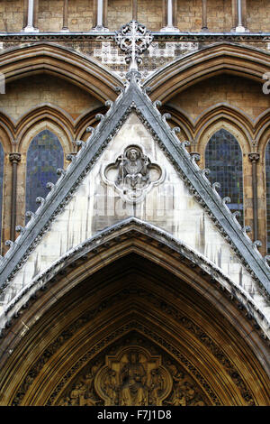 Part of the north entrance to Westminster Abbey, London, England, as viewed from Parliament Square. - Stock Photo