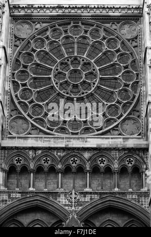 A large window on the north entrance to Westminster Abbey, London, England, as viewed from Parliament Square. - Stock Photo