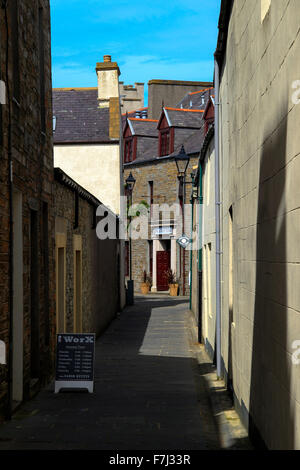 Narrow street leading to The Albert Hotel Kirkwall Orkney Islands Scotland UK - Stock Photo