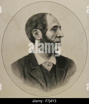 Arturo Melida Alinari (1849-1902). Spanish architect, sculptor, painter and military. Portrait. Engraving by A. - Stock Photo