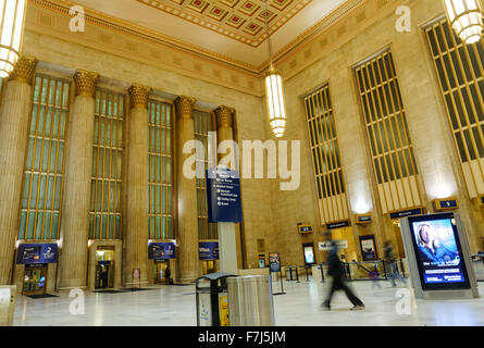 30th Street Station in Philadelphia is on the National Register of Historic Places. The station opened in 1933. - Stock Photo