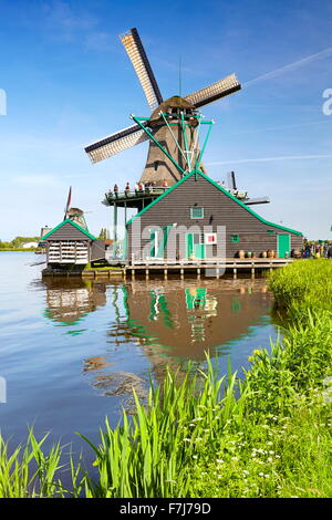 Windmills in Zaanse Schans - Holland Netherlands - Stock Photo