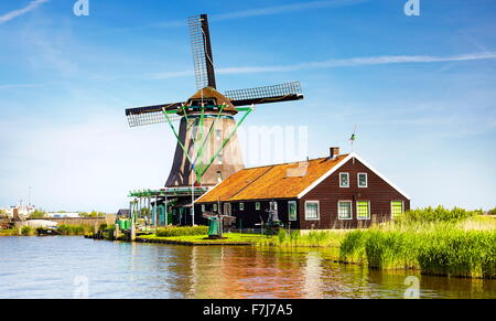 Windmills in Zaanse Schans museum - Holland Netherlands - Stock Photo