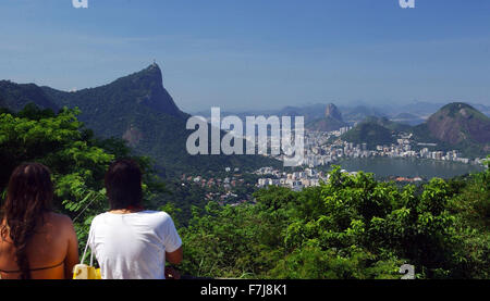 View over Rio de Janeiro, Brazil, 12 April 2005. The Corcovado mountain with the Christ the Redeemer statue (L) - Stock Photo