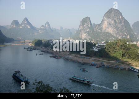 Tourist Boats on River Li at Xingping Guilin Region Guangxi, China LA008211 - Stock Photo
