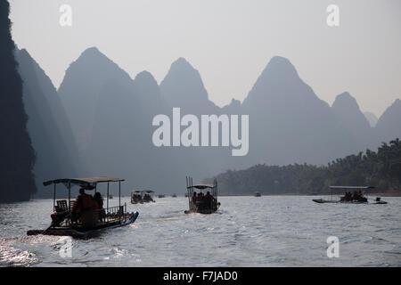 Tourist Boats on River Li with Limestone Karst Guilin Region Guangxi, China LA008219 - Stock Photo