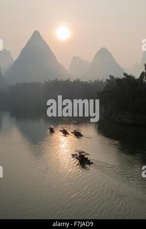 Tourist Boats on River Li with Limestone Karst Guilin Region Guangxi, China LA008224 - Stock Photo