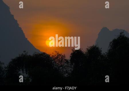Sunrise over Limestone Karst Formations Guilin Region Guangxi, China LA008231 - Stock Photo