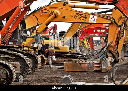 Excavators at the site of the former Phoenix steel plant in Dortmund Hoerde. - Stock Photo