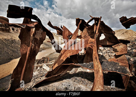 Shredded sheet piling on the grounds of the former Phoenix steel plant in Dortmund Hoerde. - Stock Photo