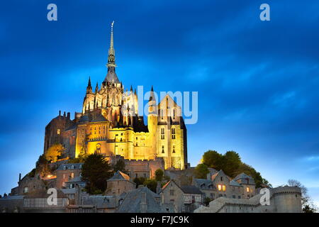 Mont Saint Michel at evening, Normandy, France - Stock Photo