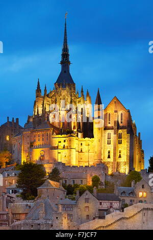 Evening view at Mont Saint Michel, Normandy, France - Stock Photo