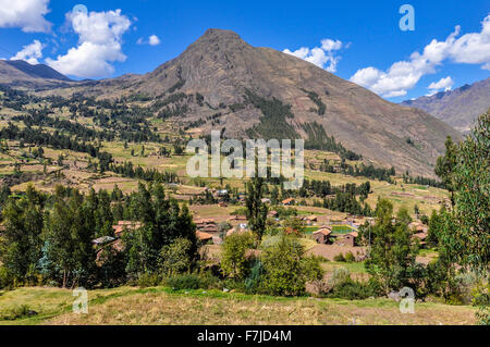 View from the top in the Sacred Valley of the Incas, Peru - Stock Photo
