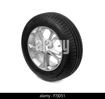 clipping path photo of a car tyre tire wheel isolated on a white background stock
