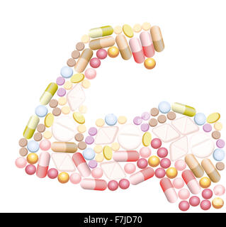 Doping - anabolic drugs, pills and capsules, that shape the biceps of a muscular arm. - Stock Photo