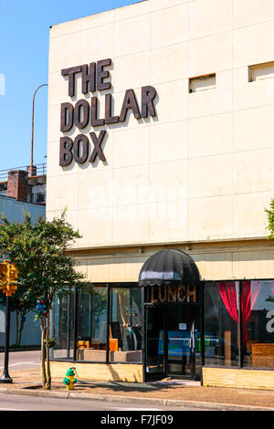 The Dollar Box store on Main Street in downtown Hattiesburg, Mississippi - Stock Photo