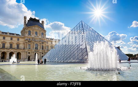 Glass pyramid Louvre Museum, Paris, France - Stock Photo