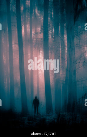 Mysterious figure in misty and eerie forest - Stock Photo