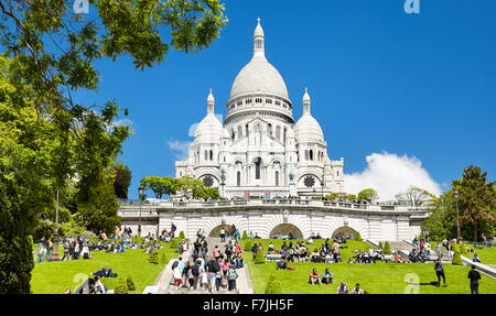 Basilica Of The Sacred Heart (Du Sacre-Coeur), Montmartre District, Paris, France - Stock Photo