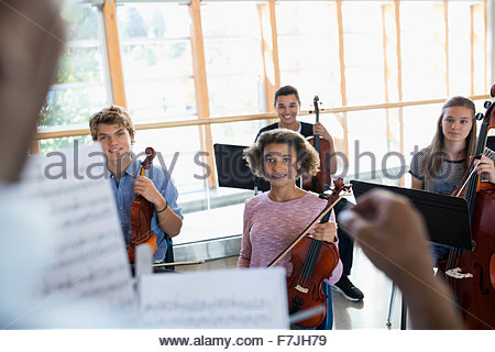 High school students listening in music class - Stock Photo