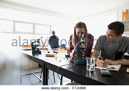 High school students using microscope science laboratory classroom - Stock Photo