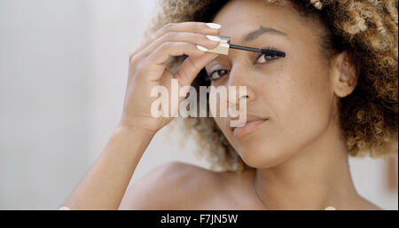Woman Face With Mascara Brush - Stock Photo