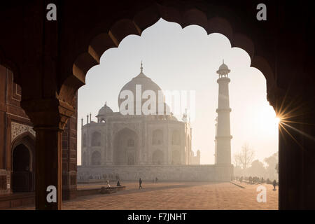 Dawn at The Taj Mahal, Agra, Uttar Pradesh, India - Stock Photo