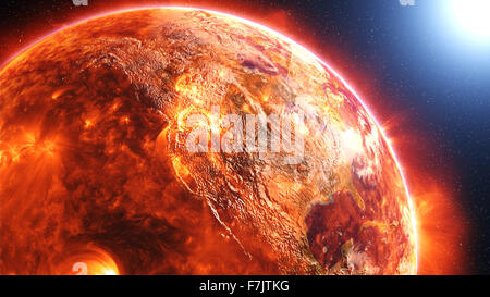 Earth burning or exploding after a global disaster, apocalyptic scenario. - Stock Photo