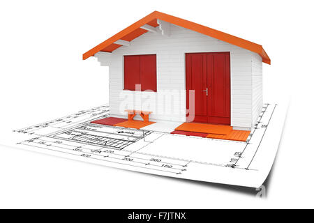 Wooden assembly House with blueprints, isolated on white background - Stock Photo