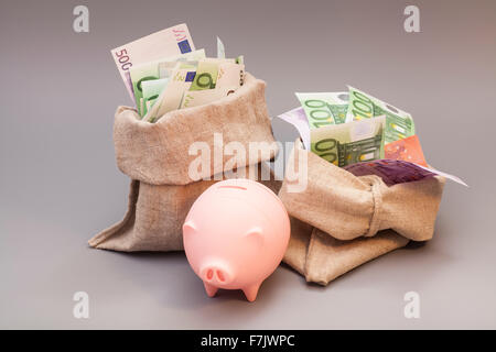 Two money bag with euro and pink piggy bank on gray - Stock Photo