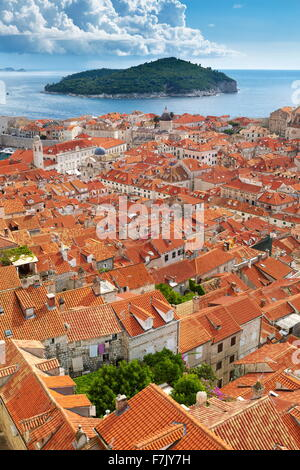 Dubrovnik Old Town, elevated view from City Walls, Croatia - Stock Photo