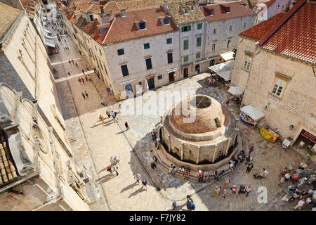 Dubrovnik Onofrio Fountain, view from Old Town City Walls, Dalmatia, Croatia - Stock Photo