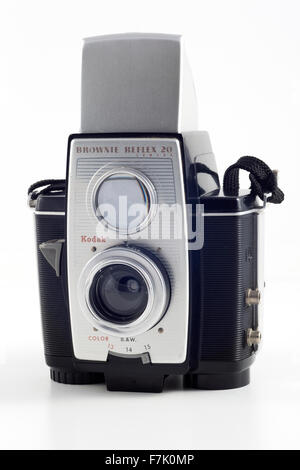 Kodak Brownie Reflex 20 Camera. Made between 1959 and 1966. Has a Meniscus f/11 lens. Assembled in the UK between - Stock Photo
