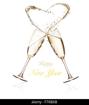 859fdbef5026 Two champagne glasses with love heart shaped fairy lights around on ...
