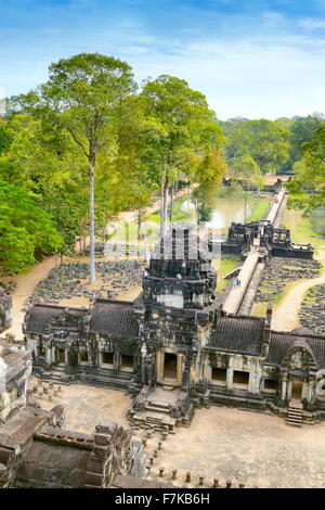 View from top of Baphuon Temple, Angkor Thom, Cambodia, Asia - Stock Photo