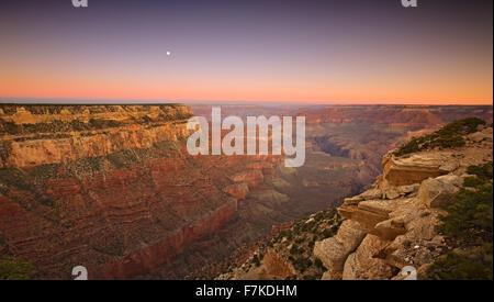 Moon and Grand Canyon from Yaki Point, Grand Canyon National Park, Arizona USA