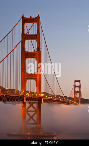 Golden Gate Bridge and fog, San Francisco, California USA - Stock Photo