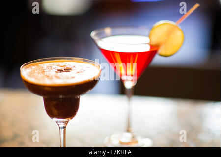 Cocktails on a bar - Stock Photo