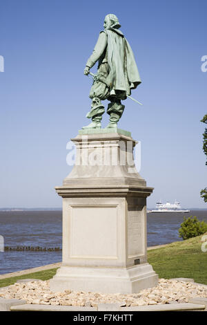 Statue by William Couper in 1909 of Captain John Smith located at James Fort, Jamestown Island, America's Birthplace, - Stock Photo