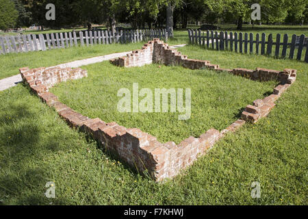 Early house foundations from the New Towne site of Jamestown, Jamestown Island, America's Birthplace, Virginia, - Stock Photo