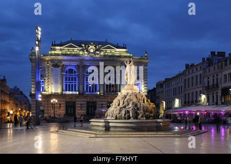 Montpellier France Place de la Comedie Opera square - Stock Photo