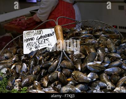 Shetland hand gathered Mussels on sale at fishmongers stall Borough Market Southwark London UK - Stock Photo