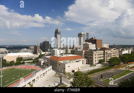 Aerial view of Omaha Nebraska skyline with view of Creighton University Morrison Football Stadium - Stock Photo