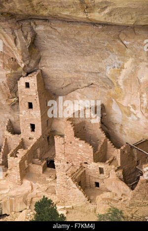 Square Tower House Indian ruin at Mesa Verde National Park, Southwest Colorado, 1200-1300 A.D. - Stock Photo