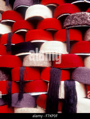 Hats on shelves in the Tunis souk. Tunis is the capitol city of Tunisia. North Africa. - Stock Photo