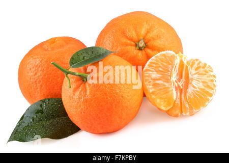 Tangerines Fruits Isolated on White - Stock Photo