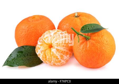 Mandarins Tangerines Fruits Isolated on White - Stock Photo