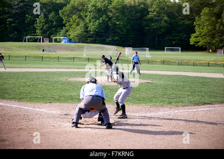 Shrewsbury Colonial high school baseball batter bats against Nashoba Chieftans pitcher, Shrewsbury, MA, 5/27/11 - Stock Photo