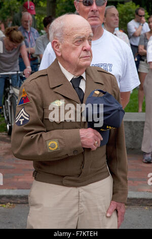 World War II Veteran holds hat on Memorial Day, 2011, Concord, MA - Stock Photo