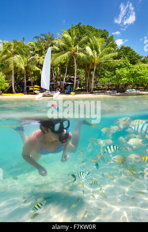Snorkeling woman in the tropical sea, Ko Samet Island, Thailand, Asia - Stock Photo